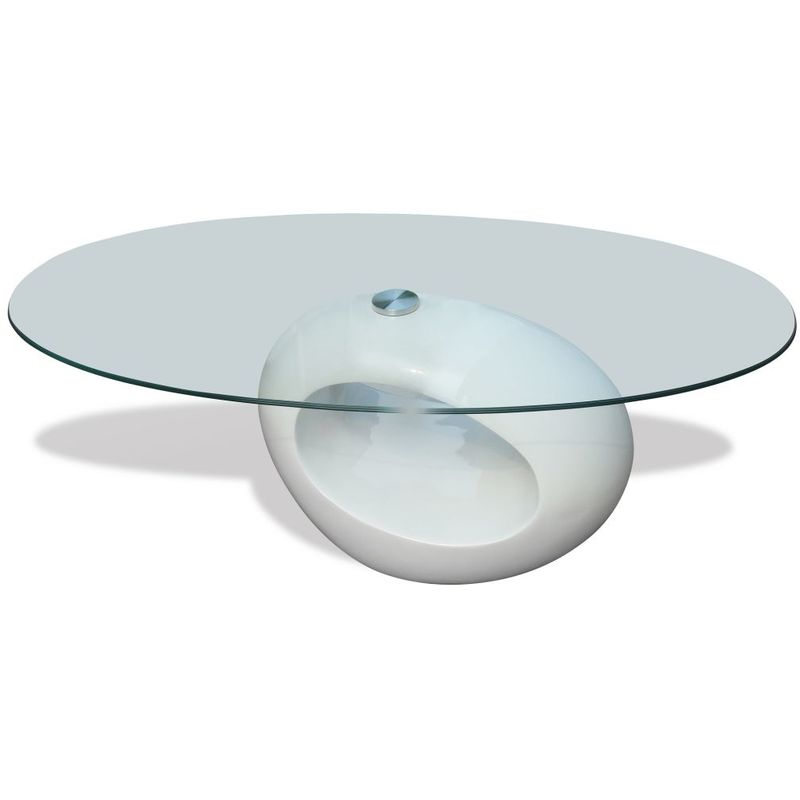 Hommoo Couchtisch mit ovaler Glasplatte Hochglanz Weiß