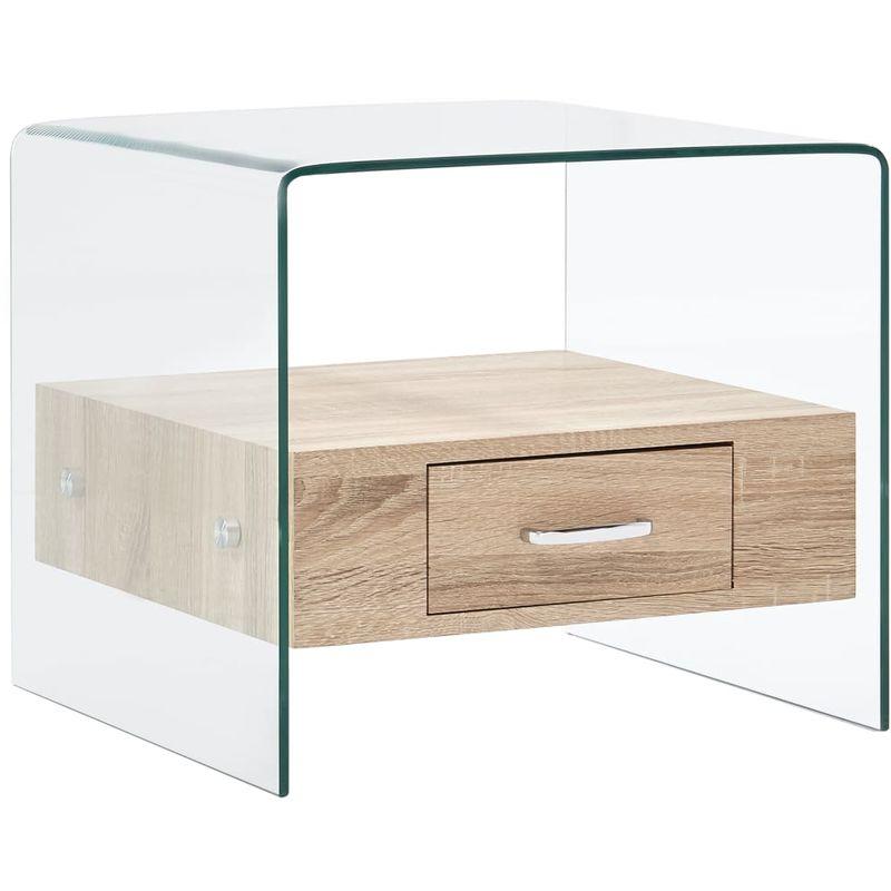 Hommoo Couchtisch mit Schublade 50x50x45 cm Hartglas VD25024