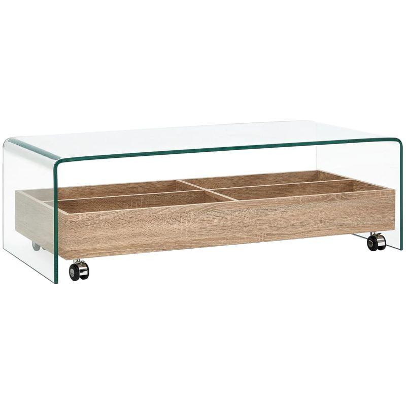 Hommoo Couchtisch Transparent 98x45x31 cm Hartglas VD25046