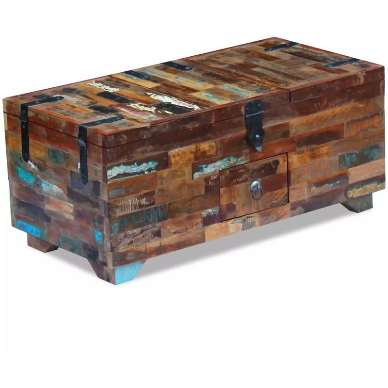 Hommoo Couchtisch Truhe recyceltes Massivholz 80x40x35 cm VD09728