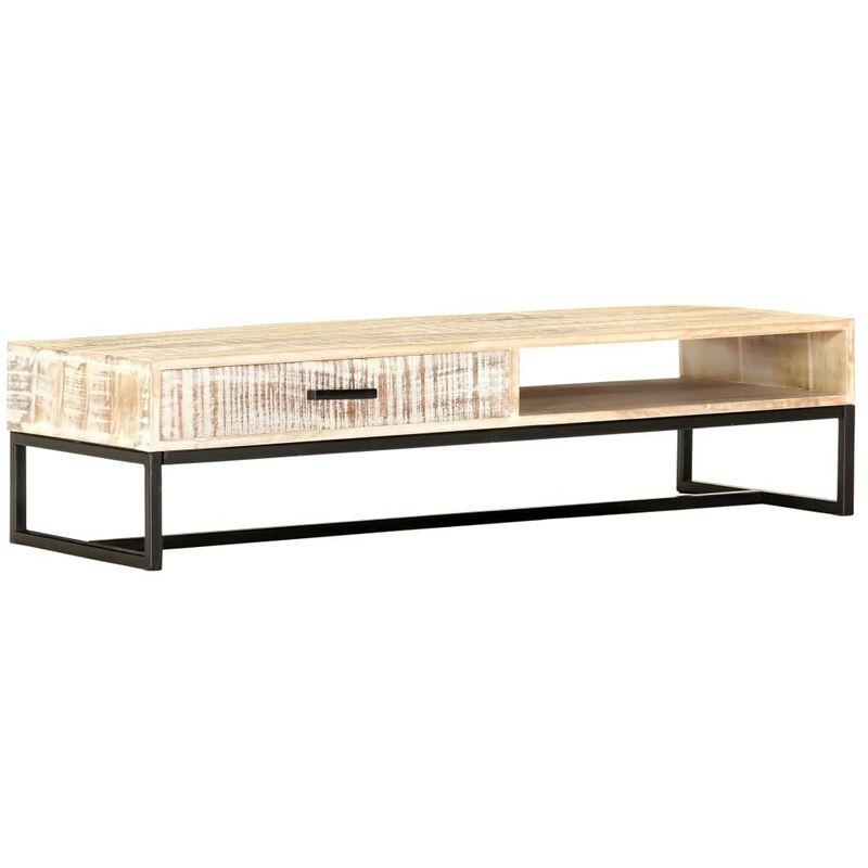Hommoo Couchtisch Weiß 117 x 50 x 30 cm Massivholz Akazie VD37314