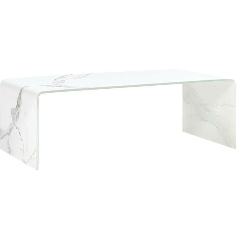Hommoo Couchtisch Weiß Marmor-Optik 98 x 45 x 31 cm Hartglas VD25033