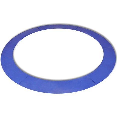 Hommoo Coussin de sécurité PE Bleu trampoline rond de 12 pieds/3,66 m