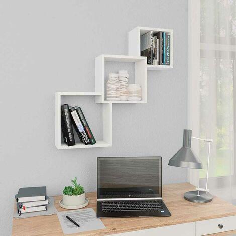 Hommoo Cube Wall Shelves White 84.5x15x27 cm Chipboard VD31299