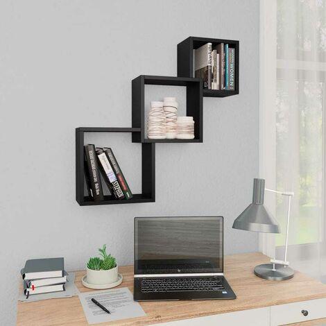Hommoo Cube Wandregale Schwarz 84,5x15x27 cm Spanplatte VD31300