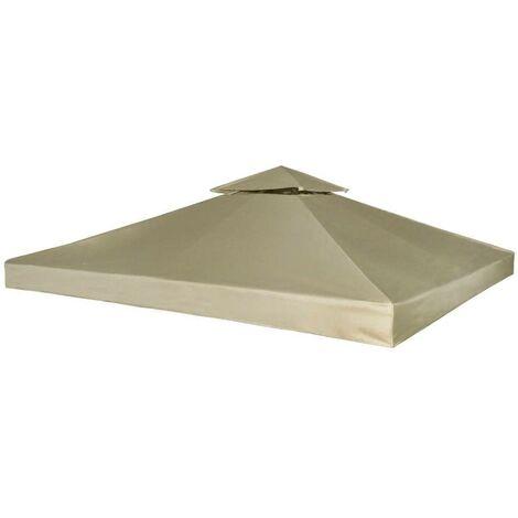 Hommoo Cubierta de repuesto de cenador 310 g/m2 beige 3x3 m