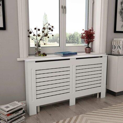 Hommoo Cubierta para radiador MDF blanco 152x19x81,5 cm