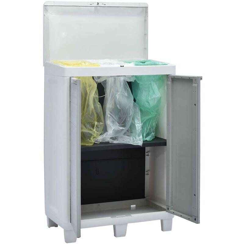 Cubo de basura para jardín con 3 bolsas gris claro 65x38x102cm - Hommoo