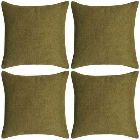Hommoo Cushion Covers 4 pcs Linen-look Green 40x40 cm