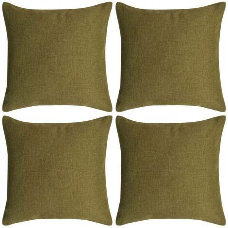 Hommoo Cushion Covers 4 pcs Linen-look Green 50x50 cm