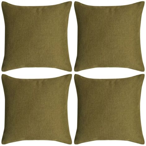 Hommoo Cushion Covers 4 pcs Linen-look Green 80x80 cm