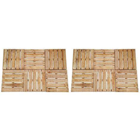 Hommoo Dalles de terrasse 12 pcs 50x50 cm Bois FSC Marron