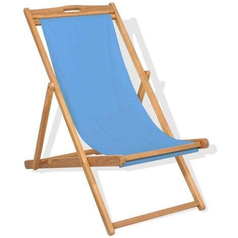Hommoo Deck Chair Teak 56x105x96 cm Blue VD28041