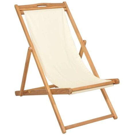Hommoo Deck Chair Teak 56x105x96 cm Cream VD28040