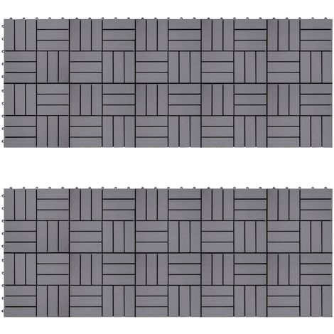 Hommoo Decking Tiles 20 pcs Grey Wash 30x30 cm Solid Acacia Wood