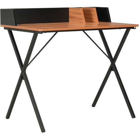 Hommoo Desk Black and Brown 80x50x84 cm