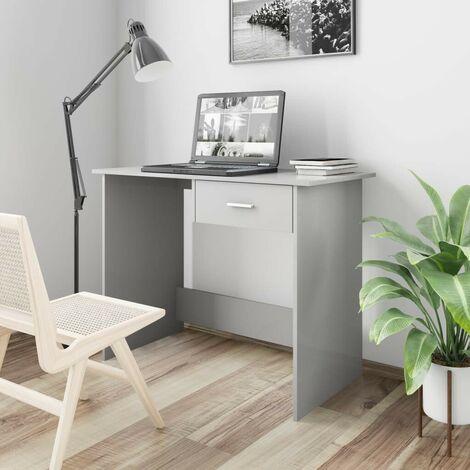 Hommoo Desk High Gloss Grey 100x50x76 cm Chipboard
