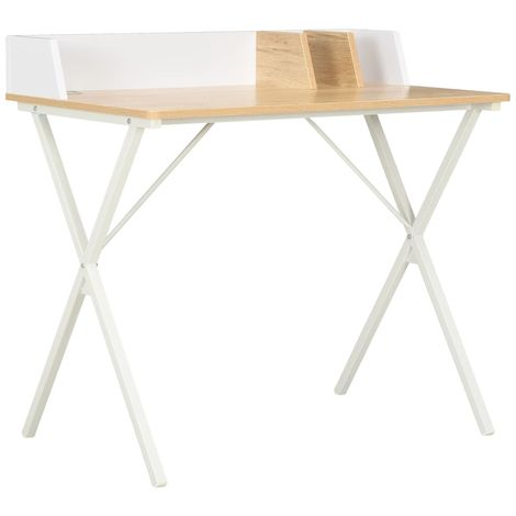Hommoo Desk White and Natural 80x50x84 cm