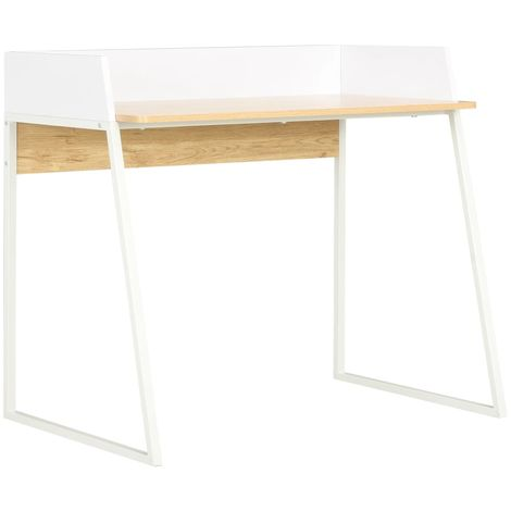 Hommoo Desk White and Oak 90x60x88 cm