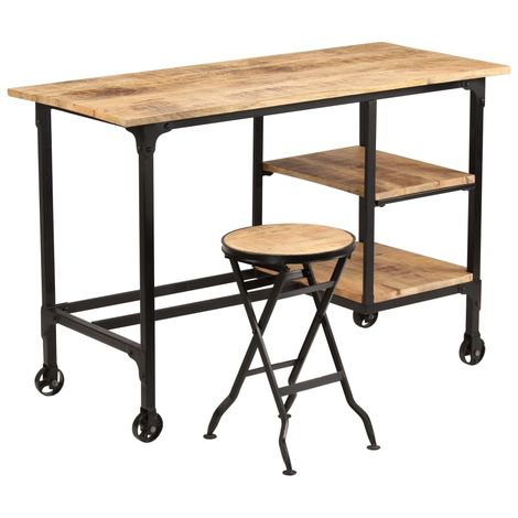 Hommoo Desk with Folding Stool Solid Mango Wood 115x50x76 cm VD11260