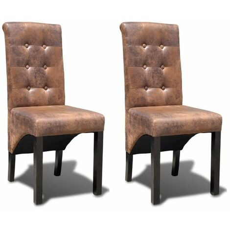 Hommoo Dining Chairs 2 pcs Brown Faux Leather VD33025