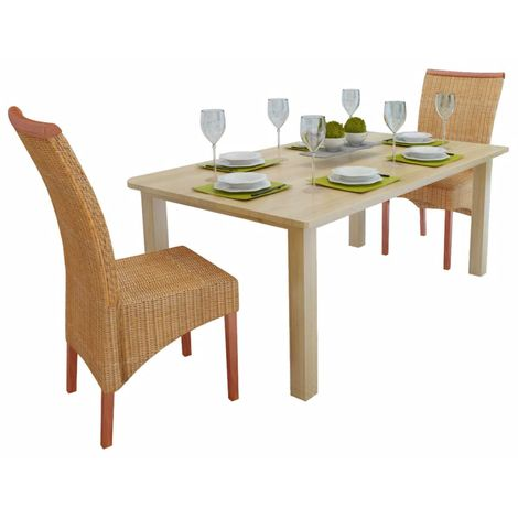 Hommoo Dining Chairs 2 pcs Brown Natural Rattan