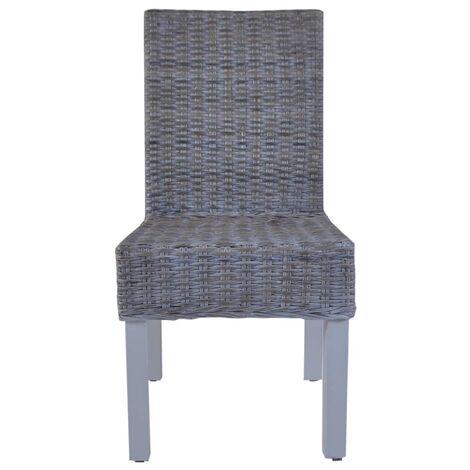Hommoo Dining Chairs 2 pcs Grey Kubu Rattan and Mango Wood QAH12580
