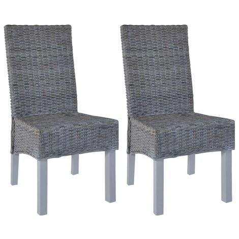 Hommoo Dining Chairs 2 pcs Grey Kubu Rattan and Mango Wood VD12580