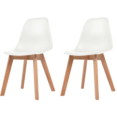 Hommoo Dining Chairs 2 pcs White Plastic VD10816