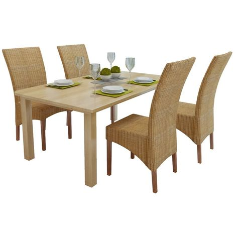 Hommoo Dining Chairs 4 pcs Brown Natural Rattan