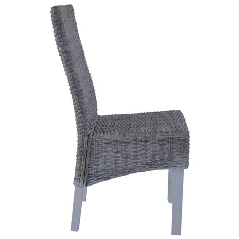 Hommoo Dining Chairs 4 pcs Grey Kubu Rattan and Mango Wood QAH18360