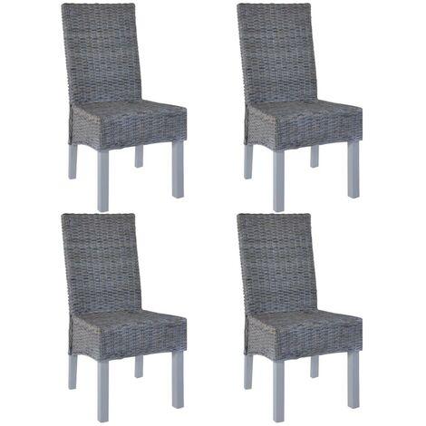 Hommoo Dining Chairs 4 pcs Grey Kubu Rattan and Mango Wood VD18360