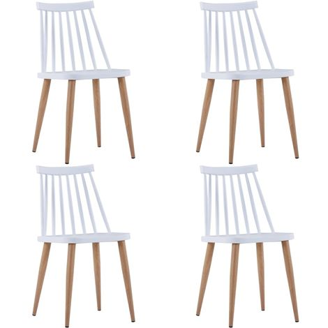 Hommoo Dining Chairs 4 pcs White Plastic VD19080