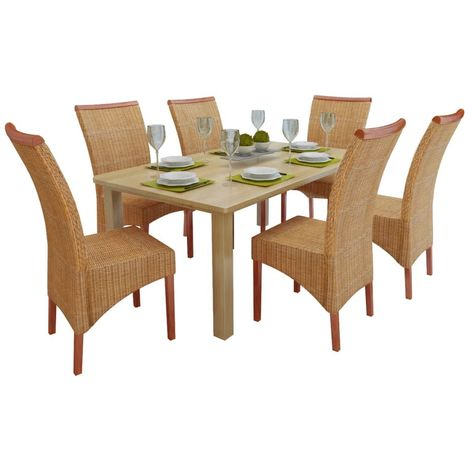 Hommoo Dining Chairs 6 pcs Brown Natural Rattan