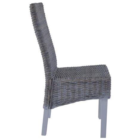 Hommoo Dining Chairs 6 pcs Grey Kubu Rattan and Mango Wood QAH18361
