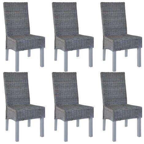 Hommoo Dining Chairs 6 pcs Grey Kubu Rattan and Mango Wood VD18361