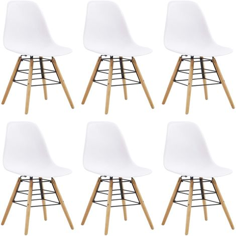 Hommoo Dining Chairs 6 pcs White Plastic VD14043