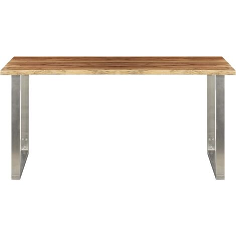 Hommoo Dining Table 160x80x75 cm Solid Acacia Wood and Stainless Steel QAH24536