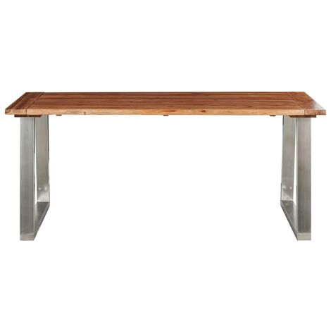 Hommoo Dining Table 180x90x75 cm Solid Acacia Wood and Stainless Steel QAH24535