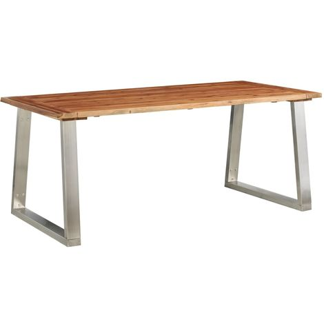 Hommoo Dining Table 180x90x75 cm Solid Acacia Wood and Stainless Steel VD24535