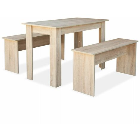 Hommoo Dining Table and Benches 3 Pieces Chipboard Oak QAH10892