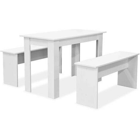 Hommoo Dining Table and Benches 3 Pieces Chipboard White QAH10891