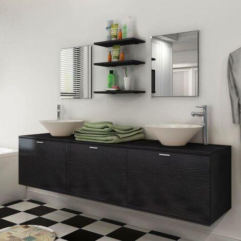 Hommoo Dix pièces pour salle de bains avec lavabo et robinet noir HDV17079