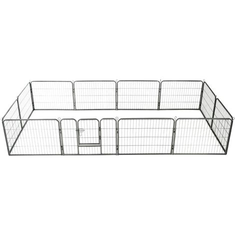 Hommoo Dog Playpen 12 Panels Steel 80x60 cm Black