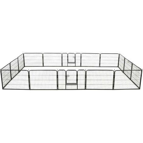 Hommoo Dog Playpen 16 Panels Steel 60x80 cm Black