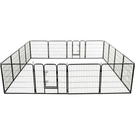 Hommoo Dog Playpen 16 Panels Steel 80x80 cm Black