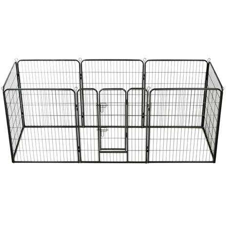 Hommoo Dog Playpen 8 Panels Steel 80x100 cm Black