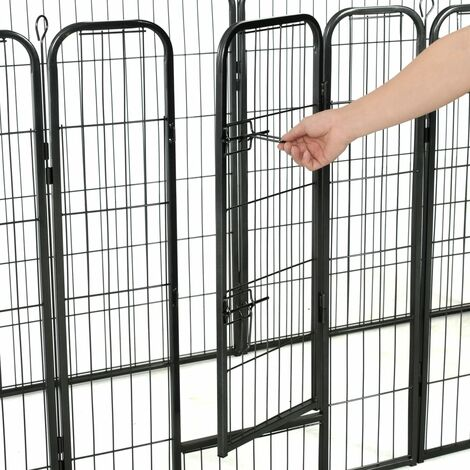 Hommoo Dog Playpen 8 Panels Steel 80x100 cm Black QAH07131