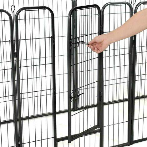 Hommoo Dog Playpen 8 Panels Steel 80x100 cm Black VD07131