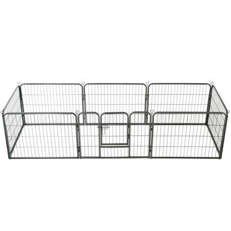 Hommoo Dog Playpen 8 Panels Steel 80x60 cm Black